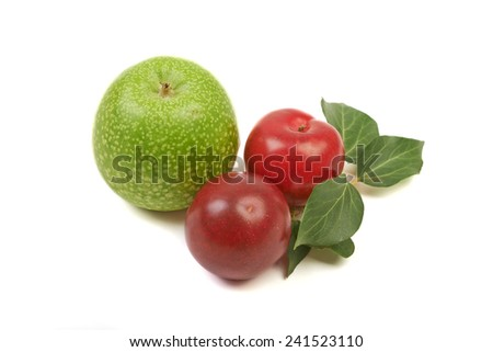 Large ripe plums and nectarines spotty green apple, healthy ingredient isolated on white background. - stock photo