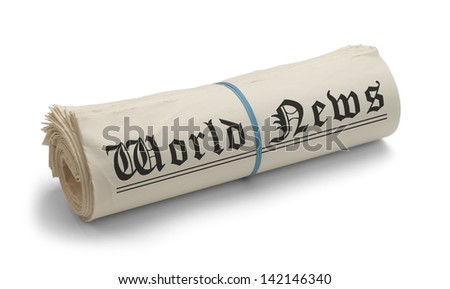 Large Rolled News Paper with World News on it Isolated on White Background. - stock photo