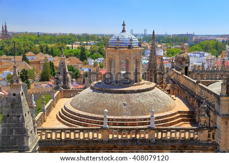Large rooftop of the Cathedral of Saint Mary of the See (Seville Cathedral), Seville, Andalusia, Spain - stock photo