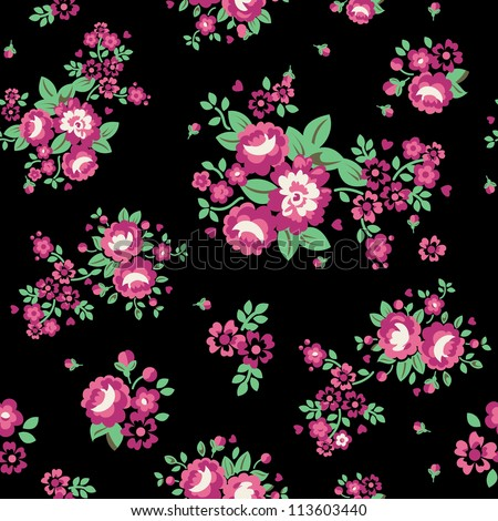 Large Roses Floral Seamless Pattern - Black Vector illustration of seamless, repeating rose pattern. - stock photo
