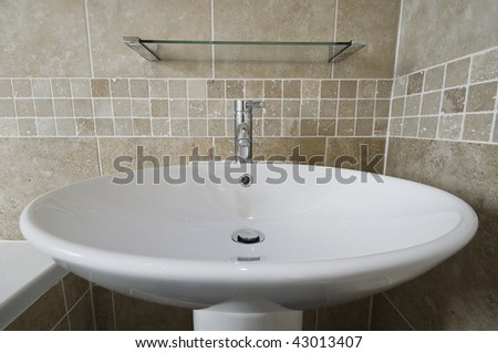 large round bowl like ceramic hand wash basin - stock photo