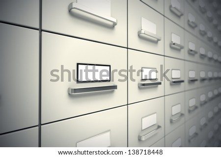 Large rows of grey file cabinets. Wall of cabinets. - stock photo