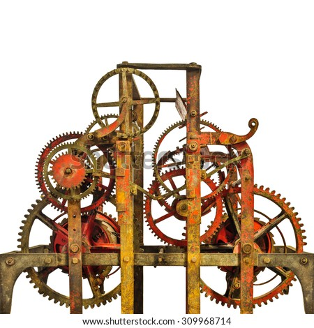 Large rusty ancient church clock mechanism isolated on a white background - stock photo