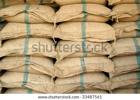 Large sackfuls of rice for sale somewhere in Thailand