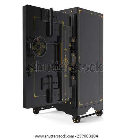 Large safe, open (done in 3D) - stock photo