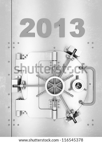 large safe with an inscription above the door - stock photo