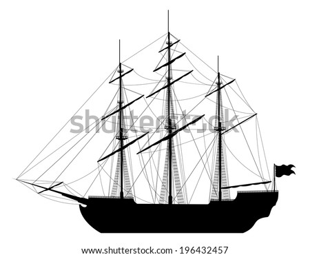 Large sailing ship. Detailed raster illustration of large black ship isolated on white background.