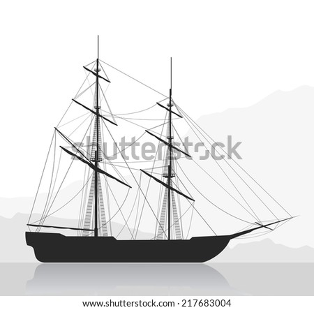 Large sailing ship. Detailed vector illustration of large ship near seashore.  Raster illustration.