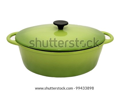 large saucepan for cooking the goose on a white background - stock photo