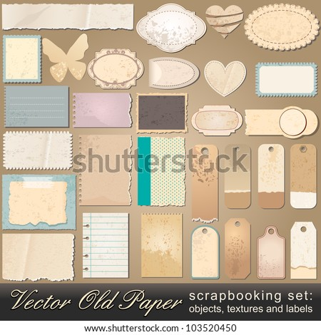 Large scrapbooking set of old, vintage paper objects, textures and labels illustrations