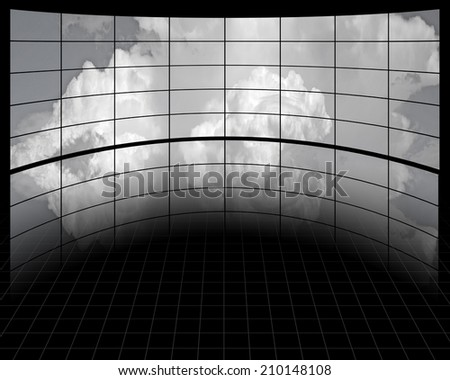 Large Screens with Clouds - stock photo