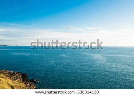 large sea and white cloud and blue sky view
