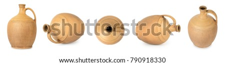 Large set of amphora from different angles isolated on white background.