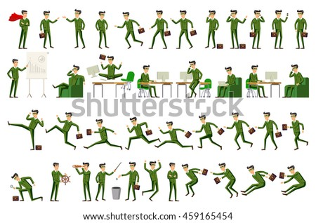 Large set of businessman character poses, gestures and actions.  - stock photo