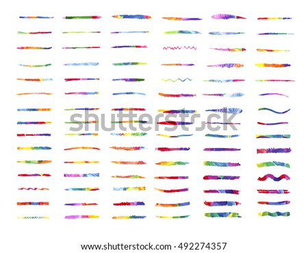 Large set of colorful watercolor brush strokes. Watercolor brushes design template