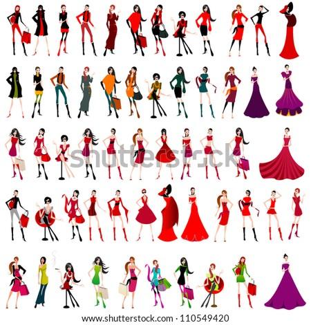 Large set of elegant shopping and fashion girls - stock photo