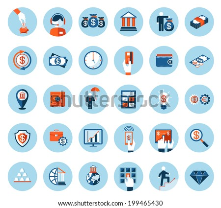Large set of finance and banking icons in colored flat style on round blue web buttons depicting cash  currencies  payment  wealth  finances  banking  business and success - stock photo