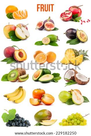 large set of fruit isolated on a white background - stock photo