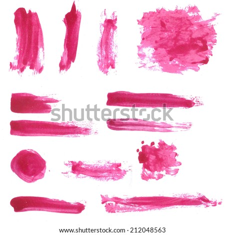 Large set of lipstick and nail polish isolated swatches. Original raster image.