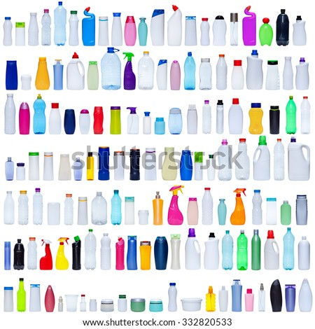 Large set of plastic bottles isolated on white - packaging and pollution concept