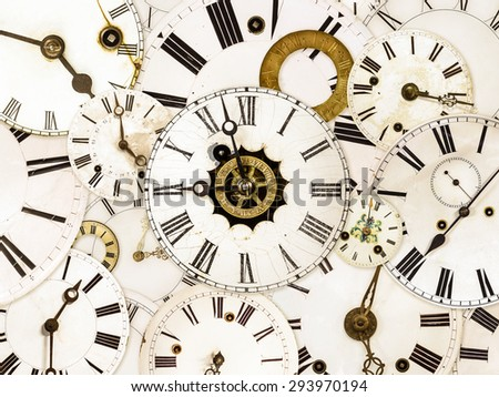 Large set of various vintage clock faces - stock photo