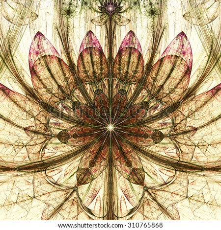 Large sharp flower background with a detailed decorative pattern and stars above it, all in high resolution and dark vivid glowing sepia tinted red,brown,green - stock photo