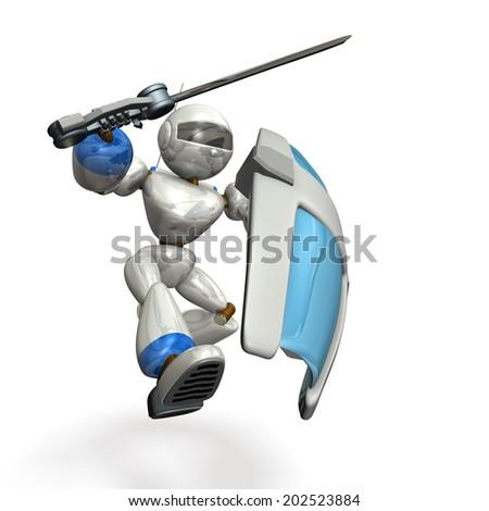 Large shield, large sword, robot assault. - stock photo