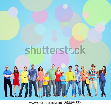 Large smiling People group near colorful background. - stock photo