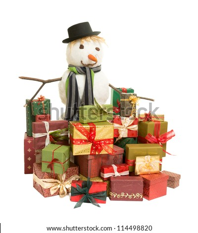 Large snowman surrounded by colorful christmas presents - stock photo