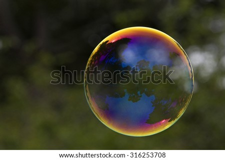 Large soap bubble reflecting outdoor park scene from San Francisco Golden Gate Park - stock photo