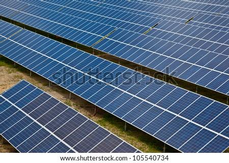 Large solar energy collector farm - stock photo