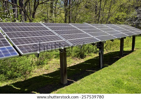 Large Solar Energy Panel Array - stock photo