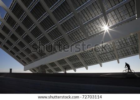 Large solar panel in Barcelona Forum public recreation park - stock photo
