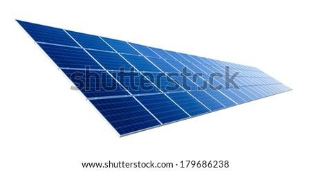 Large solar panel isolated on pure white background - stock photo