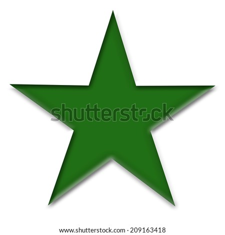Large Solid Green Star on a White Background