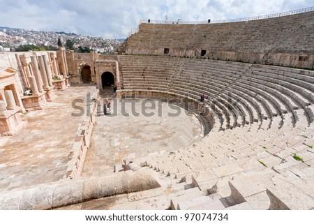 Large South Theatre - in antique town Jerash, Jordan - stock photo
