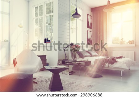 Large spacious modern bedroom interior with grey and white decor, a double divan bed, comfortable seating and numerous windows. 3d Rendering. - stock photo