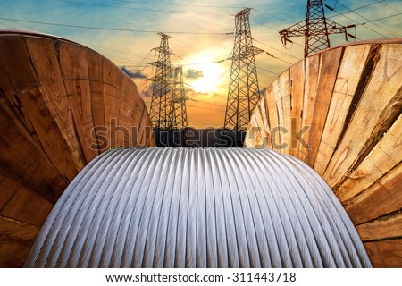 large spools of electric cable - stock photo