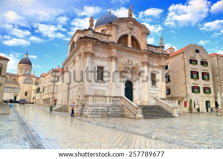 Large square in front of the Baroque building of St Blaise Church, Dubrovnik, Croatia