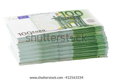 Large stack of banknotes 100 euros. Isolated on white background - stock photo