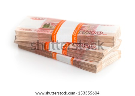 Large stack of banknotes, Russian rubles isolated on white - stock photo