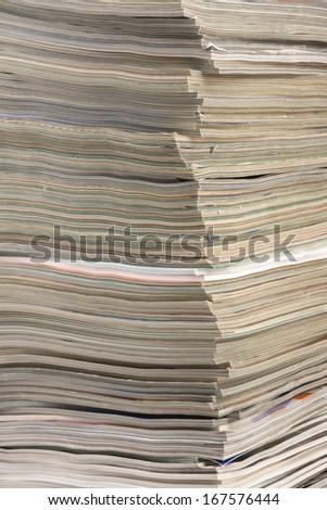 Large stack of magazines.
