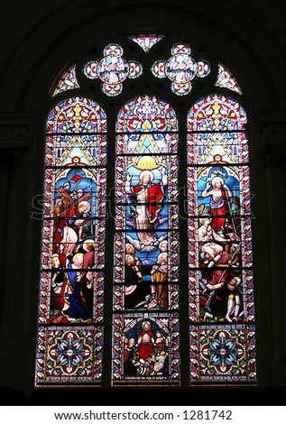 Large stained glass church window.
