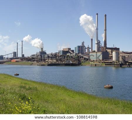 large steel factory in IJmuiden, Netherlands - stock photo