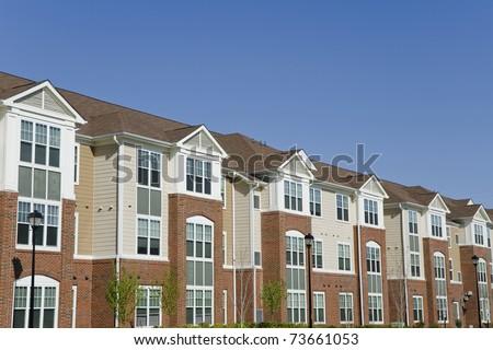 Large suburban apartment building detail - stock photo
