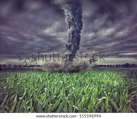 large tornado over the meadow (photo  elements compilation)  - stock photo