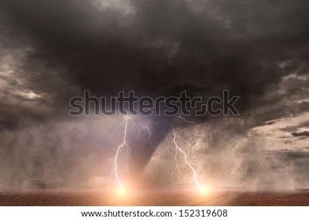 Large tornado with lightning - stock photo