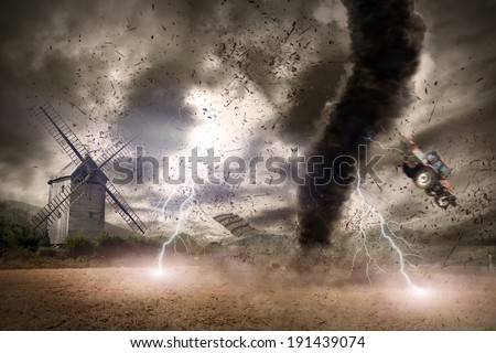 Large tornado with lightnings - stock photo