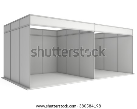 Large Trade Show Booth with Two Segments. White and Blank. Blank Indoor Exhibition with Work Paths. 3d render isolated on white background. High Resolution Ad Template for your Expo design. - stock photo
