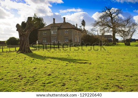 Large traditional British Farmhouse with dead tree in the countryside near Swindon - stock photo